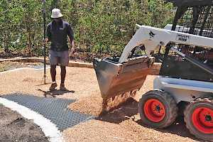 CORE Gravel 50-35HD being covered during a driveway installation.